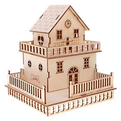 MagiDeal 3D Holz Villa Haus Modell mit LED Beleuchtung Geschenk Dekoration - # 3, 14x15x16.5cm (X 15-modell)