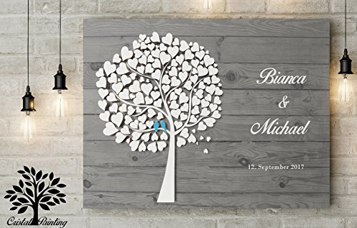 70 x 50 cm, 3D 'Holzoptik ' Leinwanddruck - Gästebuch, Hochzeitsbaum, Wedding Tree, Alternative...