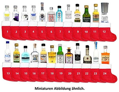 Mini Spirituosen Adventskalender Probierset - 24 verschiedene Sorten Gin / Vokda / Whiskey + 24 Socken mit Schnur zum aufhängen