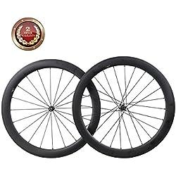 IMUST 700C Carbon Ruedas 55mm Clincher Tubeless Ready Aero Bicicleta de Carretera Juego de ruedas con Novatec Hub 1595g