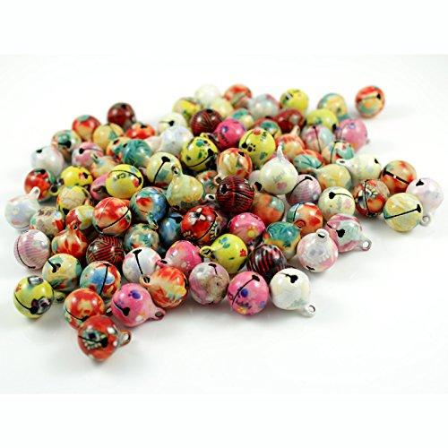 100 laute marmorierte Glöckchen Schellen mit Öse - ca. 17x13 mm - Aus Kupfer - Kleenes Traumhandel®
