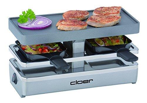 Cloer 6495 Mini Raclettegrill / 400 W / 2 Pfännchen mit wärmeisolierten Griffen / Unbeheizter