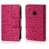 GRAFFITI Passend zu Samsung Galaxy Young / GT-S6310, Galaxy Young Duos / GT-S6312 Etui Flip Business Case Cover Etui Flip Case Deep Pink Rosa