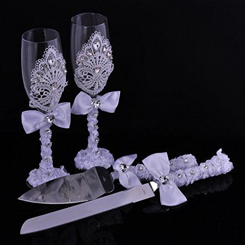 Elegante Hochzeit Kuchen Messer und Server und Wein Glas-Set mit Spitze und Glas Kristall Hochzeit Kleid Dekoration Neuheit Geschenk