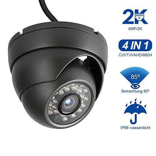 Dericam 4MP HD 2K Outdoor-Dome-Überwachungskamera, 4-in-1-Überwachungskamera, HDCVI/HDTVI/AHD/960H, IP66-Metallgehäuse, 24 LEDs/25fts Nachtsicht, 85° Betrachtungswinkel, PAL, Schwarz - 960h überwachungskamera