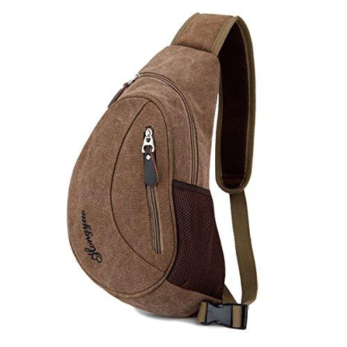 BULAGE Taschen Männer Brusttaschen Lässig Männer Taschen Leinwand Taschen Rucksäcke Sport Praktisch Im Freien Große Kapazität Lüftung Brown
