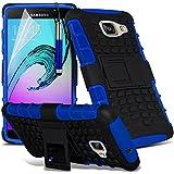 Gadget Giant® Bleu/Blue - Samsung Galaxy A5 2016 (A510) Étui carapace antichoc résistant double épaisseur de très bonne qualité avec protection d'écran et stylet (Antichoc - Couverture - Rigide - Carapace - Robuste)