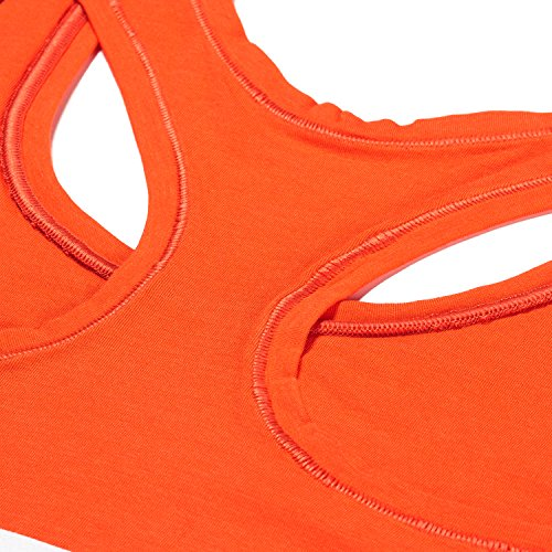 Lapasa Damen BH Baumwolle, Schick und Bequem in 13 Farben, Damen BH set, Damen BH ohne Bügel, L003 Rotorange bra