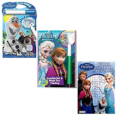 Frozen Invisible Ink Book Bundle - Two Invisible Ink Magic Colouring Books with Frozen Magic Pens. Also includes Word Search Puzzles Book. Assorted items. Bundle may contain product that is different than pictured.