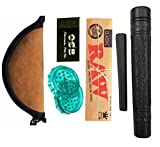 Stoner baba 6 inch Clay Cillum Combo - 6' Super refined Clay Chillum + RAW + Pouch + Crusher + Roach