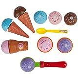 Ultrakidz Johntoy Spielzeug Eiscreme-Set, bunte Waffeln und Kugeln für die Kinderküche, Küchenspielzeug, 11-teilig
