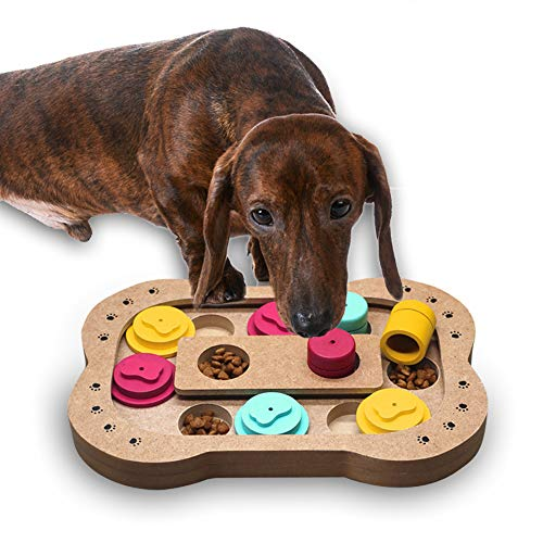 Andiker Shuffle Knochen-Puzzle Spielzeug, Verstecken und Suchen von Lebensmittelbehandeltem Zug, Puzzle, Intelligenz Training Feeder Spender