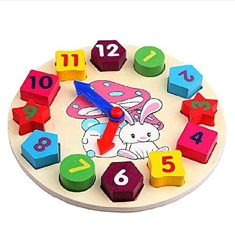 Horloge en Bois Jouet, Netspower Puzzle En Bois avec des