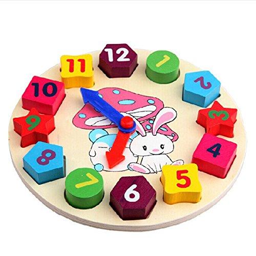 Reloj de Aprendizaje, Netspower Juguetes de Madera Geometría Digital Reloj Bloques Piezas Juguetes Educativos Infantiles Forma del Reloj Aprendizaje de Colores Madera para Bebés Niños