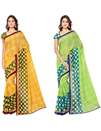 Anand Sarees Women's Faux Georgette Multi Color Printed Combo Saree With Blouse Piece (1115_1_1115_2)