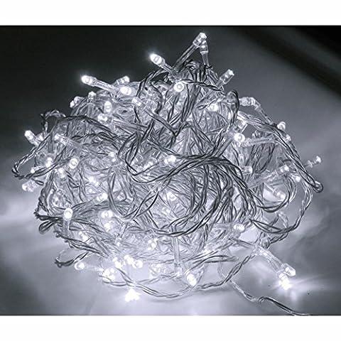 48er LED Strom Lichterkette für außen Lichtfarbe kaltweiss Kabel transparent