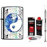 Zippo Briquet Yin et Yang & Accessoires L + Chrome Bougie Briquet