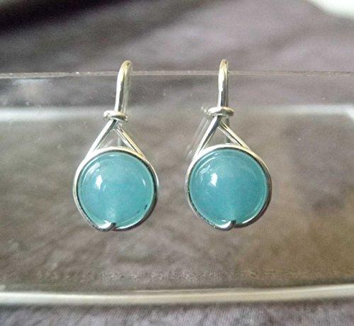 Kleine Ohrringe Noble - Edelstein Jade Aquamarin - versilbert