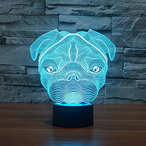 MSRRY Shar Pei 3D la luce 7 colore LED touch visual atmosfera luminosa lampade dono 3238