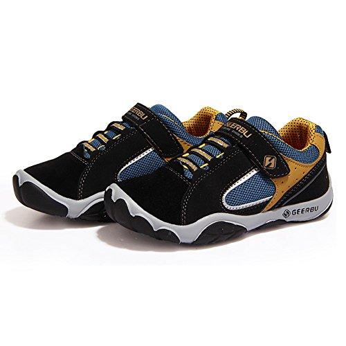 SaiDeng Garçons Casual Baskets De Plein Air Running Chaussures Velcro Sports Sneaker Noir
