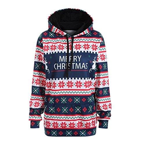 (TWIFER Frohe Weihnachten Damen Weihnachtsmann Kapuzen Pullover Sweatshirt Bluse T-Shirt (L, Blau))