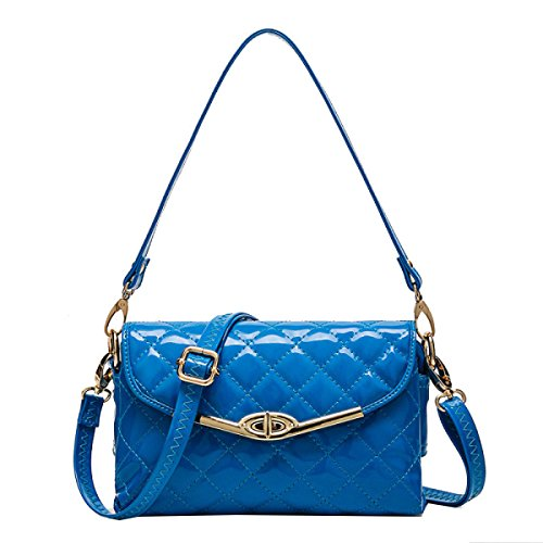 Yy.f Handtaschen Gestreifte Brieftasche Handtaschen-Schultertasche Damen Handtasche PU-Leder Brieftasche Elegante Tasche,Blue-25*7*15cm (Handtasche Gestreifte Blau)