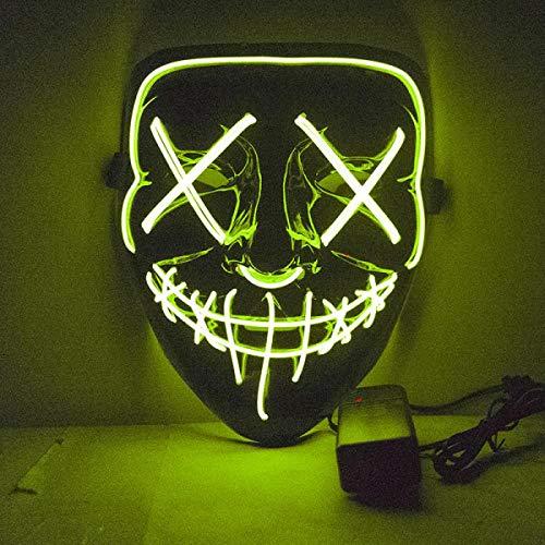 Kostüm Neon Dance - AWJQ Lustiges Maske Kostüm Dj Party Dance Party Beleuchtete Maske In 10 Farben des Dunklen Glühens, Grün