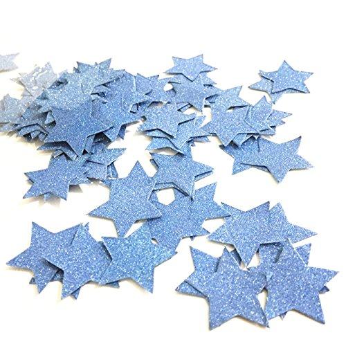 100Glitzer Rose Violet Star Konfetti Party Dekoration, twinkle twinkle little star Konfetti Sterne, Hochzeit Tisch Decor, Geburtstag Baby Dusche Dekorationen 1.2inches blau (Twinkle Little Star Baby-dusche Dekorationen)