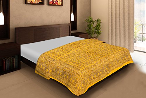 Rajasthan Crafts Rajasthan Craft'S Yellow Cotton Jaipuri Print Double Bed Quilt/Comforter/Ac Quilt/Ac...