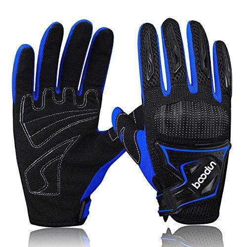 ARTOP Motorrad Handschuhe, Motorrad Cross Atmungsaktiver Handschuh mit Schutz PVC Shell Für Männer Frühling-Sommer-Herbst(Blau,XL)