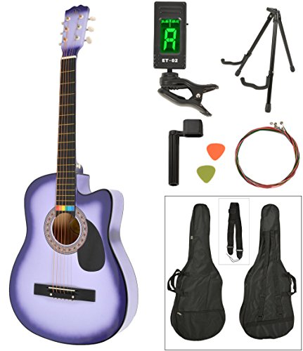 ts-ideen Western - Guitarra acústica, tamaño regular (4/4) con set de accesorios (bolso, cuerdas, afinador, soporte etc.), color lila sunburst