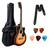 """Xtag Imported Acoustic Guitar 40"""" Cutaway With Bag Belt and Plectrums,SunBurst Guitar For"""