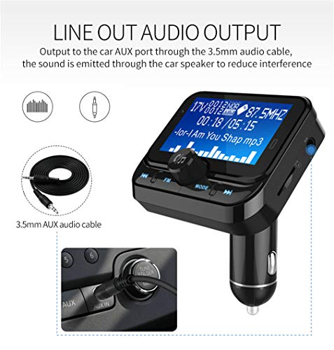 tter/Dual Usbcharging/Bluetooth-Wiedergabe/Navigations-Sprachwiedergabe/Power-Off-Memory-Wiedergabe/Intelligent Detection Voltage/Car Wireless Charge,Black ()