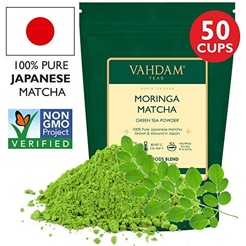 Moringa + Matcha Green Tea Powder - Powerful SUPERFOODS Blend (50 Servings)-Pure Japanese Matcha Powder with Authentic Indian Moringa Powder 137x Anti-OXIDANTS, Delicious Matcha Latte Powder, 100g