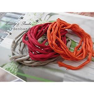 1 Seidenband Habotai Farbwahl Seidenkette für Ketten und Armbänder orange Beere grau Festival Hippie