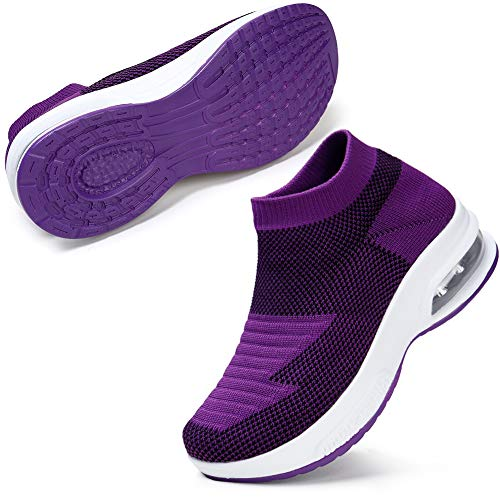 Atmen Sie Laufschuhe Turnhalle Beleg auf Laufschuhen Frau Gehen Gehen Weit Fit Keil Plattform Müßiggänger Schuhe Lila EU 40 -
