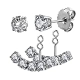 Elensan S925 Sterling Silber 2 in 1 Ohrringe Zirkonia Stud und Ear Jacket Cuff Ohrklemmen Set