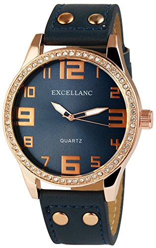 Excellanc XXL Damenuhr Blau Gold Strass Analog Metall Leder Quarz Armbanduhr