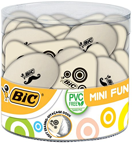 BIC Mini Fun Gomas de Borrar – colores Surtidos, Bote de 36 unidades