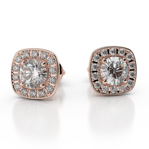 Or Rose 18carats 0,76ct G-H/VS sertie de diamants taille ronde Halo Boucles d'oreilles Agder-1011