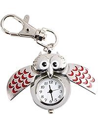 Très Chic Mayo Landa Unisex Búhos Reloj Llavero bolsillos búho UHU Keyring llavero Pendent Amuleto de la suerte Joyas Rojo