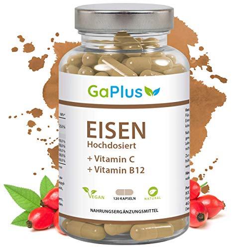 EISEN Hochdosiert, Natürliches Eisen + Vitamin C + Vitamin B12. 28mg reines Eisen und 100mg Vitamin C pro Kapsel. - Müdigkeit + Energie + Immunsystem, 120 Kapseln im 4 Monatsvorrat -