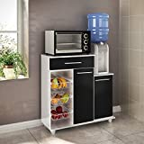 Ditalia Wooden Kitchen Organizer With Two Doors, One Drawer and Three Baskets, White & Black - H 89 cm x W 90 cm x D 33 cm