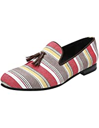 Bareskin Multicolor Print Hand Made Canvas Slip-on Shoes With Stylish Leather Tassel For Men