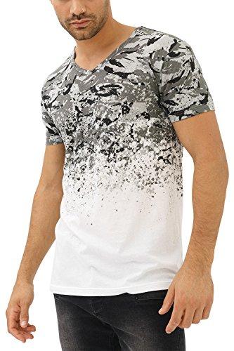 trueprodigy Herren T-Shirt V-Ausschnitt Weiß Kurzarm Slim Fit