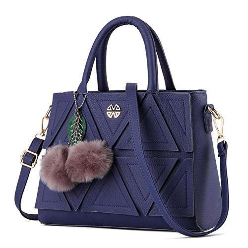 HQYSS Damen-handtaschen Koreanische süße Stereotypen Volltonfarbe PU Leder geprägt weibliche Schulter Messenger Tasche deep blue