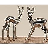 Reh Bambi, 2er Set, Aluminium silber, Dekorationsartikel zu Weihnachten / Christmas