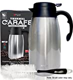 Thermal Coffee Carafe Stainless Steel - Heavy Duty, 24hr Lab Tested Heat Retention