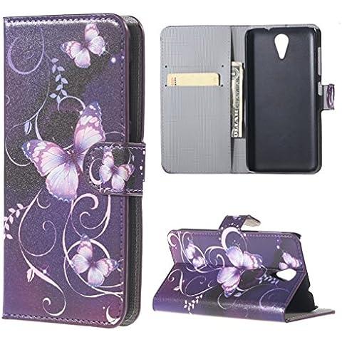 HTC Desire 620G Custodia Portafoglio,PU Cuoio Flip Case Caso Con carte di credito slot Portafoglio Guscio Casi per HTC Desire 620 620G Custodia in Pelle Protettiva Cover(Farfalla 03)