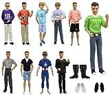 ZITA ELEMENT 23 Stück Puppensachen Set für Barbie Ken Kleidung Kleider Freizeitkleidung 10er Oberteil mit Hosen und 3 Paare Schuhe Mann Junge Bekleidung